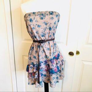 ca249ce064 U by Rox (Dillards) floral layered strapless dress